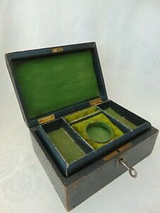 ANTIQUE LEATHER JEWELLERY WATCH CASE CHEST LIFT OUT TRAY with KEY