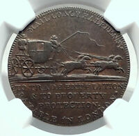 1790's ENGLAND Great Britain MIDDLESEX Conder Token Coin MAIL COACH NGC i79202