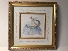Handpainted Framed Watercolor Baby Boy and Bassinet Embellished Nursery Decor