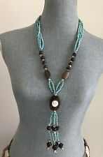 New Long Summer Turquoise Wood Silver Beads Mother of Pearl Necklace 26""