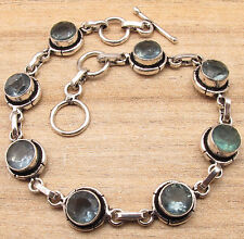 925 Silver Plated Bracelet 7 5/8 Inch !! Real APATITE 8 Beautiful Stone Gift