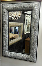 Crackle Bow Design Wall Bevelled Mirror Black Frame Mosaic Glass 90x60cm New