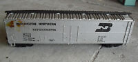 Vintage 1980s HO Scale Silver Burlington Northern Refrigerator Car