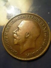 Vintage Great Britain England 1917 1/2 Half Penny Georgivs Very Rare & NICE!