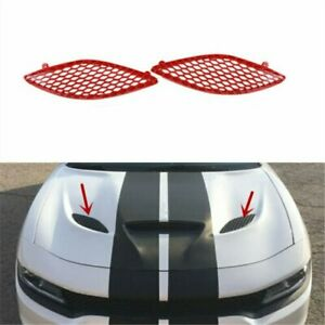 Pair Hood Grille  Bezel Red Mesh Fit For DODGE Charger SRT Hellcat 2015-2020