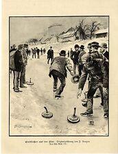 F.Bergen ( Eisschießen auf der Isar ) Graphik Holzstich um 1900