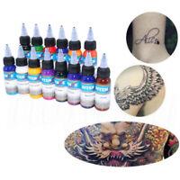 Salon Tattoo Ink 14 Colors 30ml 1oz Bottle w/Twist Cap for Tattoo Ink Pigment