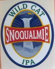 SNOQUALMIE WILD CAT IPA Beer STICKER, Label with WATERFALL, WASHINGTON STATE