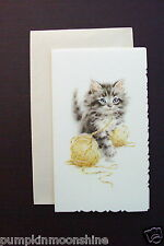 # I 780- Vintage Unused Blank Greeting Note Card Pussy Cat Playing with Yarn