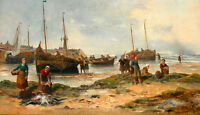 Excellent Oil painting fishers with Fishing boat by the sunset beach on canvas