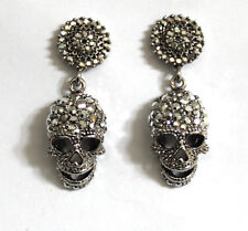 Butler and Wilson Silver Crystal Skull Round Drop Earrings NEW