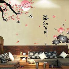 Sunrise Plum Blossom Tree Bird Lotus Wall Sticker Removable Decal Home Decor Art