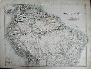 MAP 1882 SOUTH AMERICA by Johnston LARGE SIZE GOOD CONDITION FOR AGE