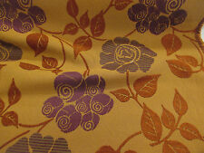 """Tan & Purple """"Floral Chenille"""" Leaves, Jaquard Curtain/ Upholstery Fabric."""
