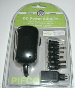 Power Supply 1000mAh AC-DC Adapter With Multivoltage Plugs With USB Port 12V UK