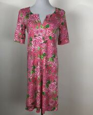 Lilly Pulitzer Rose Pink May Flowers Silk Shift Dress or Nightgown No Belt 4