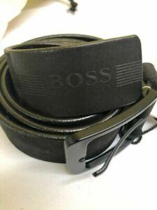 Hugo Boss Men's Luxury Genuine Metal Buckle Leather Belt Black - All Sizes