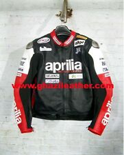 MEN MOTORBIKE APRILIA LEATHER RACING JACKET RED & BLACK SIZES S,M,L,XL,2XL,3XL