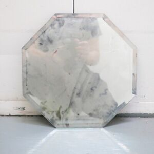 Antique Octagonal Mirror Decor Vintage Table Church Tray Window Deco Stain Glass