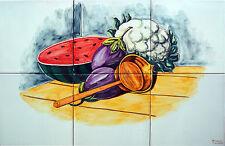 Carreaux peint a main 40x60 cm fruits cuisine céramique Talavera Artistique