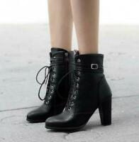 Womens Chunky High Heels Ankle Boots Lace Up Pointy Toe Zipper Shoes Size 4-11