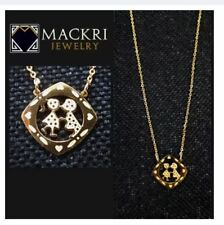 MACKRI Gold Stainless Steel Chain Necklace with Diamond Couple Girl and Boy Pend