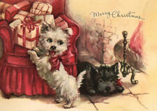 WESTIE TERRIER SCOTTISH TERRIER PUPS SINGLE DOG PRINT GREETING CHRISTMAS CARD