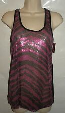 NWT No Boundaries Women's Juniors Pink & Black ZEBRA PRINT Sequin Tank Top S 3-5