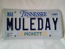 Vintage 2001 Tennessee Pickett County Vanity MULEDAY License Plate 1021