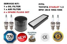 FOR TOYOTA STARLET 1.3 EP81 2E-E OIL AIR FILTER AND 4 SPARK PLUG SERVICE KIT