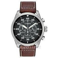 -NEW- Citizen Avion Leather Band Eco-Drive Watch CA4210-24E