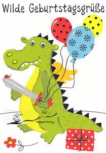 Kunstkarte: Wilde Geburtstagsgrüße / Kleiner Drache mit Schwert und Luftballons