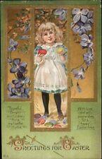 Easter Series #35 Children & Nice Border Little Girl & Eggs c1910 Postcard