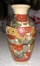 "Small Antique Japanese Satsuma Figural Cabinet Vase 5"" Tall Pottery"