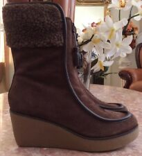 ccce0fa33258 New Tommy Hilfiger Women s Brown Suede Fur Trim Zip Wedge Boots Sz 8M MSRP   139