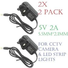(2x) 5V 2A AC/DC 5.5 x 2.1mm UK Plug Power Supply Adapter Converter Charger