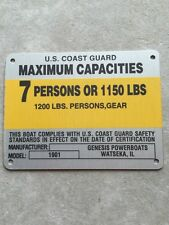 United Marine Corp Boat Capacity Plate~Tag~7 Person or 1150 Lbs~Genesis 1901