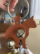 Handmade Lancaster county leather door hanger cat bells door decor
