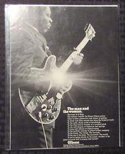 "1970 B.B. KING & LUCILLE Gibson Guitars / Amps 8x10.5"" Print Ad FN+ 6.5"