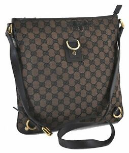 Authentic GUCCI Abbey Shoulder Cross Body Bag Canvas Leather 272400 Brown C9753