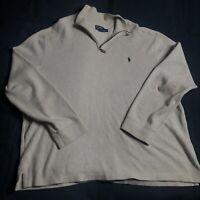 Polo Ralph Lauren 1/4 Zip Pullover Sweater Beige Men's Size XXL 2XL