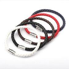 Unisex Women Men Braided Leather Bracelet Stainless Steel Magnetic Clasp Bangle