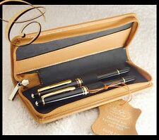 Leder Etui * 2 Schreibgeräte Stifte SAND BEIGE Reißverschluss Pen Pouch Leather