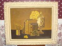Still Life Library Office books Framed Yellow Brown Amateur Art 16 x 20 Painting