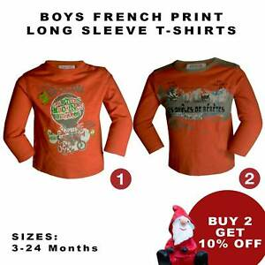Boys Long Sleeve T-Shirt French Worked Printed Orange Sweatshirt 3-24M [DT-10]