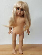 """Kingstate 17"""" Vinyl Doll Long Blond Hair Light Skin Blue Open/Close Eyes"""