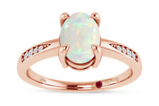 0.60 CT Oval Natural White Opal Gemstone With Daimond Accent Band Ring 18K Gold