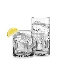 Impressions 16-Piece Glassware Set - 8 Coolers, 8 Old Fashioned, Glass, Chic