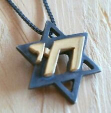 Oxidized silver Star of David with gold Chai hai necklace men's gift jewish gift