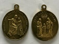 VINTAGE 2 LARGE BRASS MEDAL FOR HABIT NUN ROSARY HOLY FAMILY JESUS MARIA JOSEPH